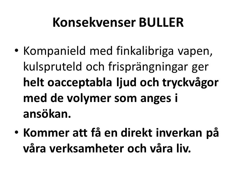 Konsekvenser BULLER • Kompanield med finkalibriga vapen, kulspruteld och frisprängningar ger helt oacceptabla ljud och tryckvågor med de volymer som anges i ansökan.