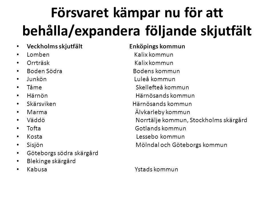 Försvaret kämpar nu för att behålla/expandera följande skjutfält • Veckholms skjutfält Enköpings kommun • Lomben Kalix kommun • Orrträsk Kalix kommun