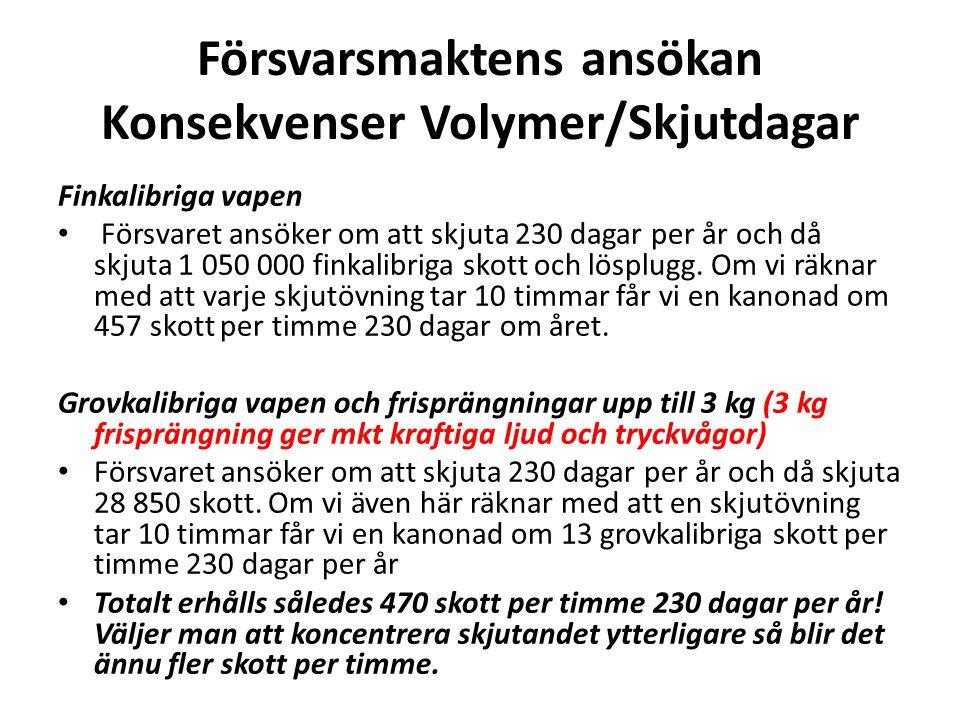 Försvarsmaktens ansökan Konsekvenser Volymer/Skjutdagar Finkalibriga vapen • Försvaret ansöker om att skjuta 230 dagar per år och då skjuta 1 050 000