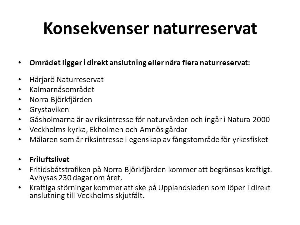 Konsekvenser naturreservat • Området ligger i direkt anslutning eller nära flera naturreservat: • Härjarö Naturreservat • Kalmarnäsområdet • Norra Björkfjärden • Grystaviken • Gåsholmarna är av riksintresse för naturvården och ingår i Natura 2000 • Veckholms kyrka, Ekholmen och Amnös gårdar • Mälaren som är riksintresse i egenskap av fångstområde för yrkesfisket • Friluftslivet • Fritidsbåtstrafiken på Norra Björkfjärden kommer att begränsas kraftigt.