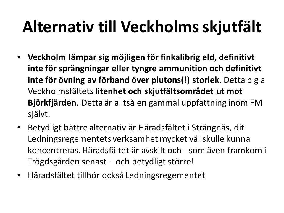 Alternativ till Veckholms skjutfält • Veckholm lämpar sig möjligen för finkalibrig eld, definitivt inte för sprängningar eller tyngre ammunition och definitivt inte för övning av förband över plutons(!) storlek.