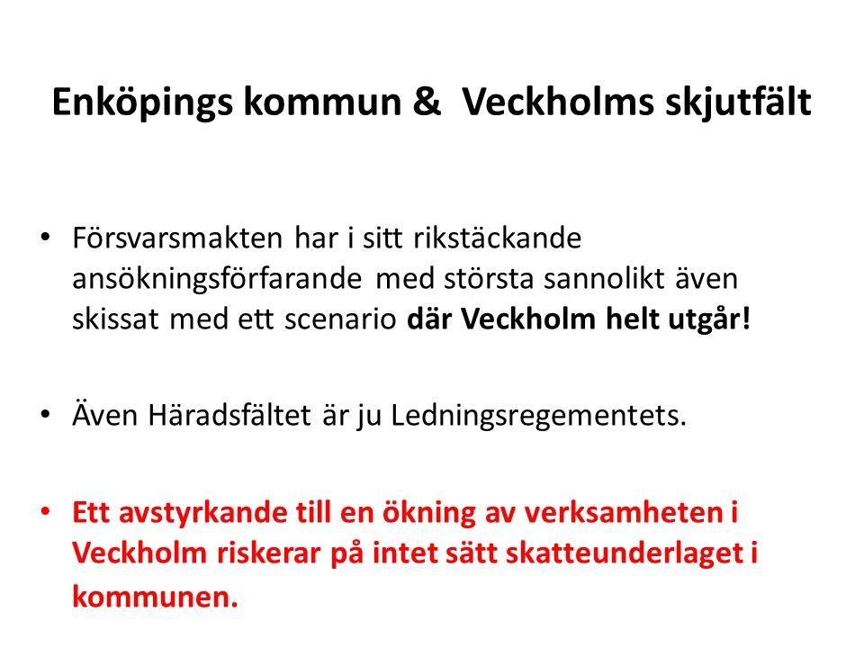 Enköpings kommun & Veckholms skjutfält • Försvarsmakten har i sitt rikstäckande ansökningsförfarande med största sannolikt även skissat med ett scenario där Veckholm helt utgår.