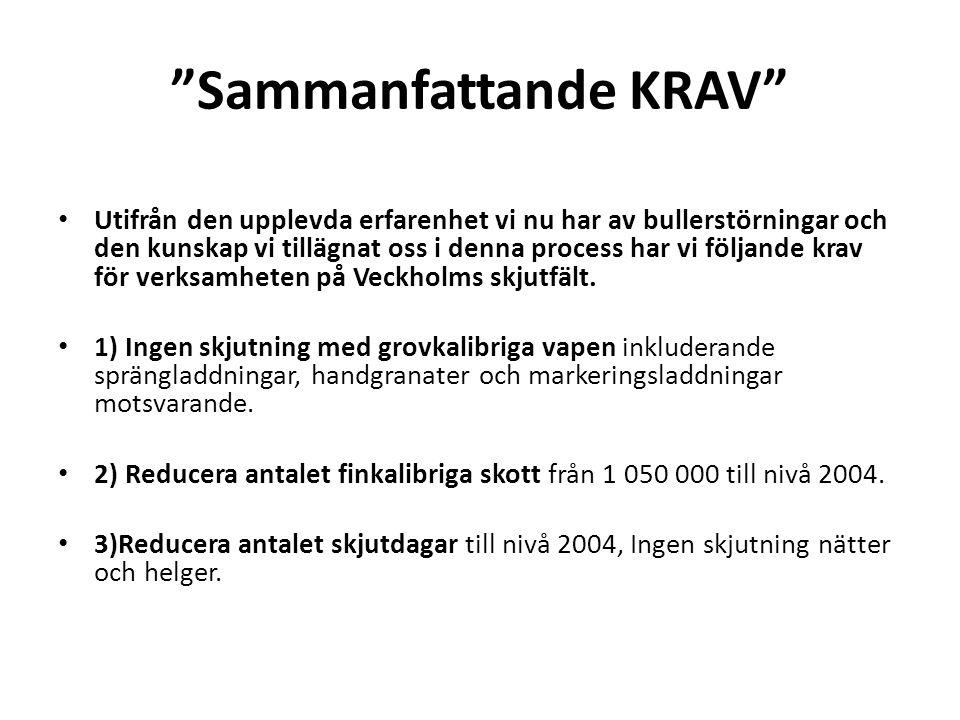 Sammanfattande KRAV • Utifrån den upplevda erfarenhet vi nu har av bullerstörningar och den kunskap vi tillägnat oss i denna process har vi följande krav för verksamheten på Veckholms skjutfält.