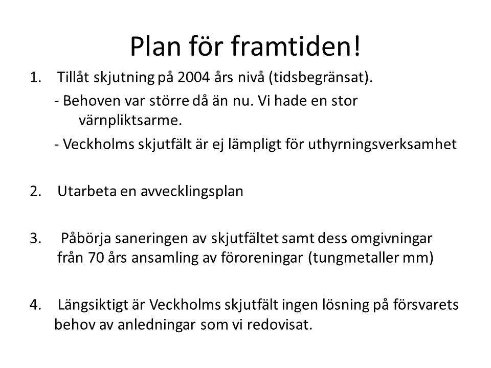 Plan för framtiden! 1.Tillåt skjutning på 2004 års nivå (tidsbegränsat). - Behoven var större då än nu. Vi hade en stor värnpliktsarme. - Veckholms sk