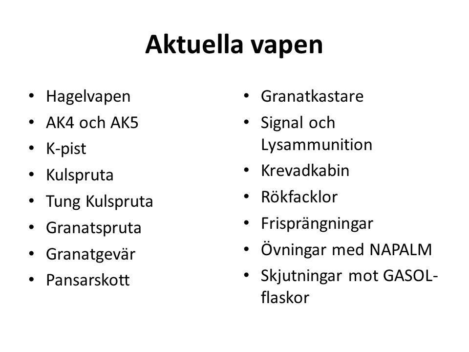 Aktuella vapen • Hagelvapen • AK4 och AK5 • K-pist • Kulspruta • Tung Kulspruta • Granatspruta • Granatgevär • Pansarskott • Granatkastare • Signal och Lysammunition • Krevadkabin • Rökfacklor • Frisprängningar • Övningar med NAPALM • Skjutningar mot GASOL- flaskor