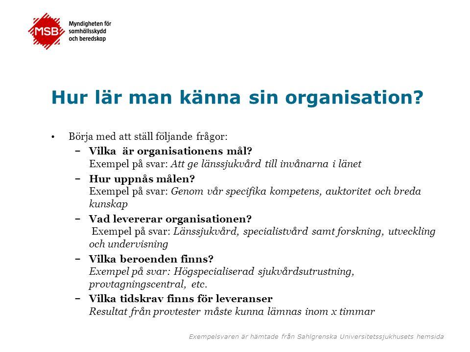 Hur lär man känna sin organisation? •Börja med att ställ följande frågor: – Vilka är organisationens mål? Exempel på svar: Att ge länssjukvård till in