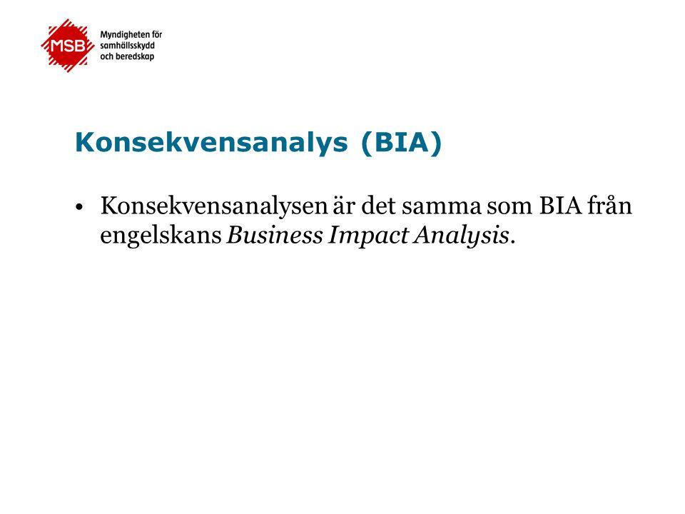 Konsekvensanalys (BIA) •Konsekvensanalysen är det samma som BIA från engelskans Business Impact Analysis.