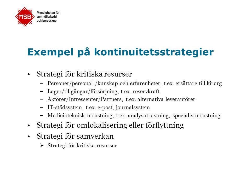 Exempel på kontinuitetsstrategier •Strategi för kritiska resurser – Personer/personal /kunskap och erfarenheter, t.ex. ersättare till kirurg – Lager/t