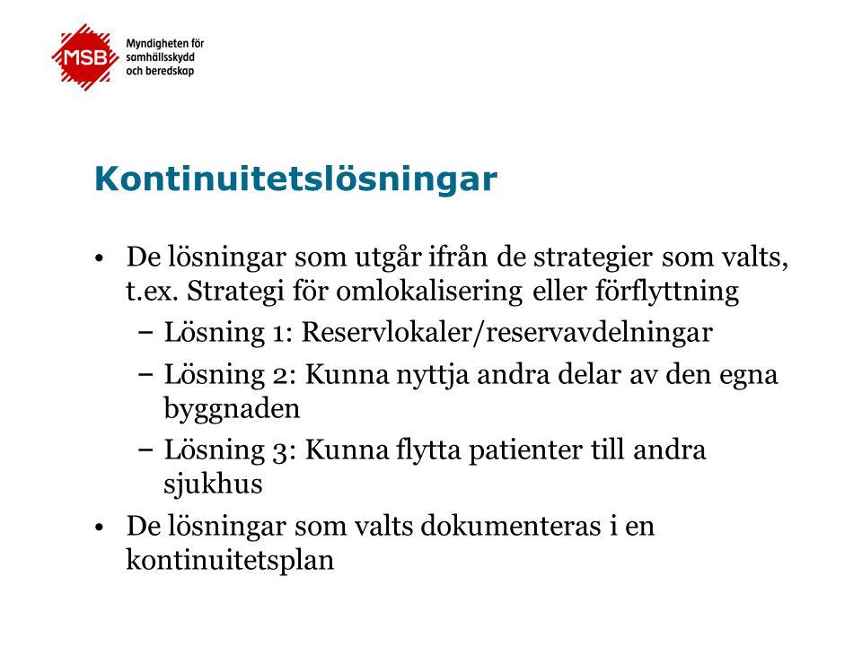 Kontinuitetslösningar •De lösningar som utgår ifrån de strategier som valts, t.ex. Strategi för omlokalisering eller förflyttning – Lösning 1: Reservl