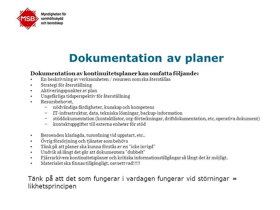 Dokumentation av planer Dokumentation av kontinuitetsplaner kan omfatta följande: •En beskrivning av verksamheten / resursen som ska återställas •Stra