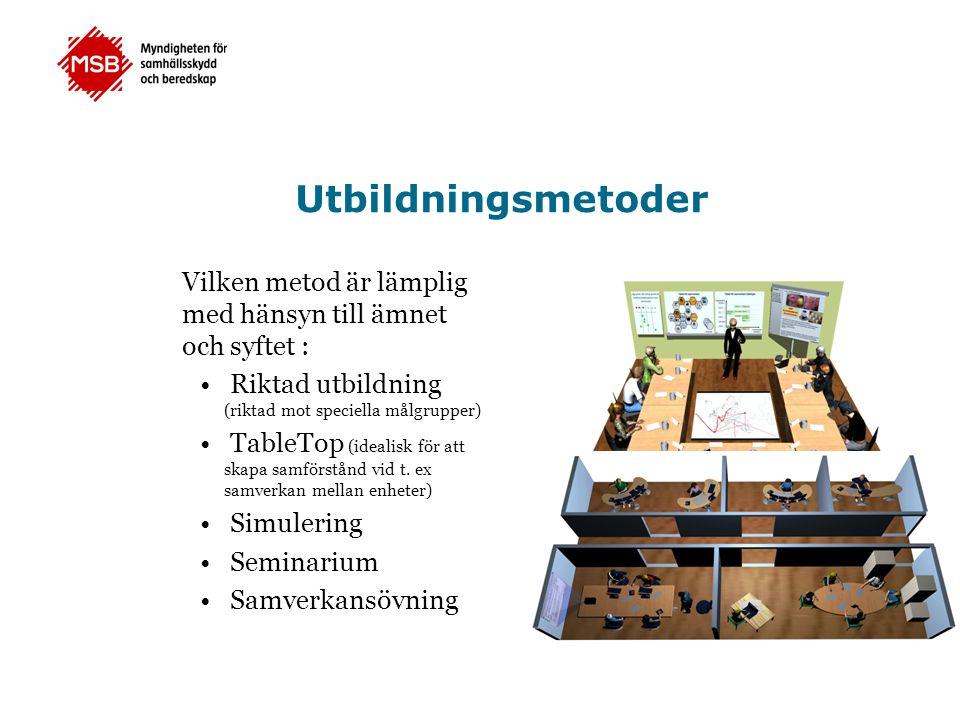Utbildningsmetoder Vilken metod är lämplig med hänsyn till ämnet och syftet : • Riktad utbildning (riktad mot speciella målgrupper) • TableTop (ideali