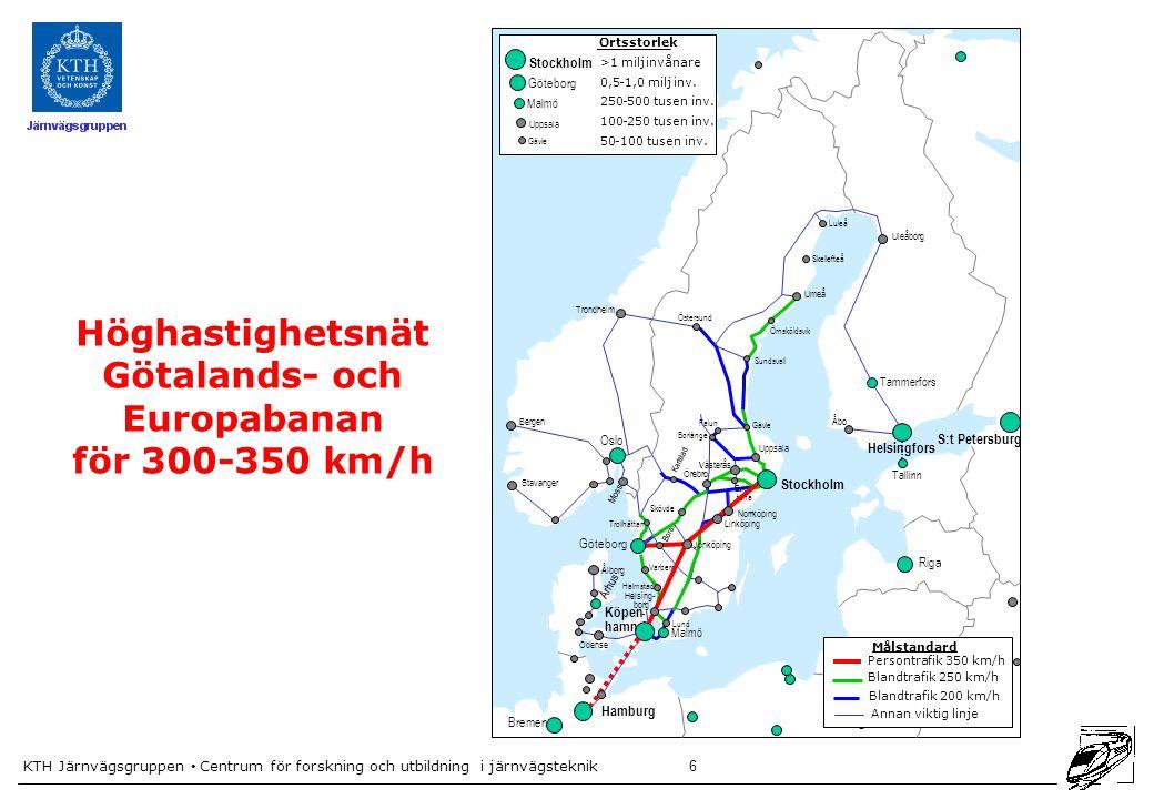 KTH Järnvägsgruppen • Centrum för forskning och utbildning i järnvägsteknik 17 Kapacitetsutnyttjande på södra stambanan med dagens trafik Modellen hittade 2720 tidtabellsvarianter