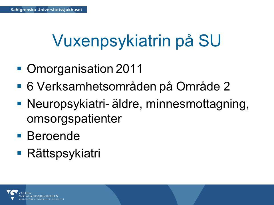 Vuxenpsykiatrin på SU  Omorganisation 2011  6 Verksamhetsområden på Område 2  Neuropsykiatri- äldre, minnesmottagning, omsorgspatienter  Beroende