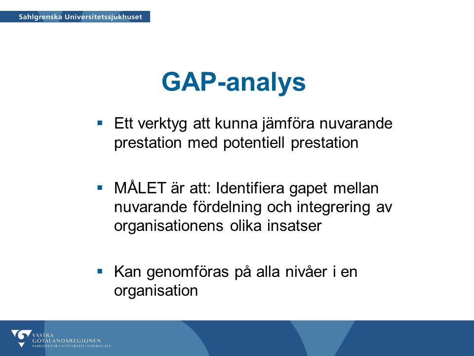 GAP-analys  Ett verktyg att kunna jämföra nuvarande prestation med potentiell prestation  MÅLET är att: Identifiera gapet mellan nuvarande fördelnin