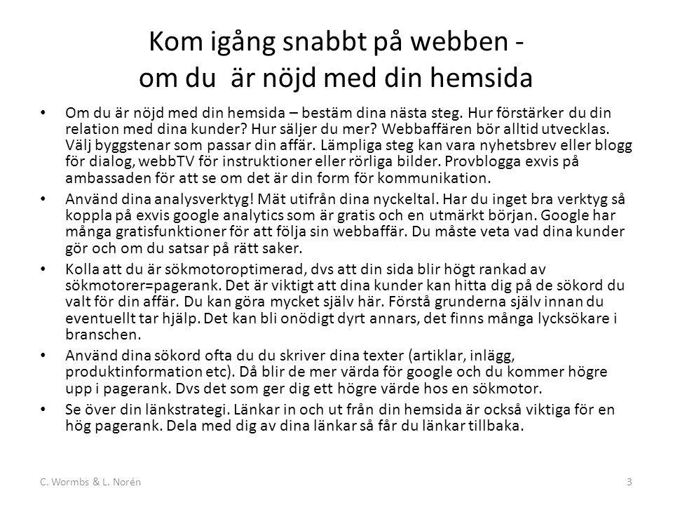 C. Wormbs & L. Norén14 2005, CSR-det goda företaget, webbfråga, nyhetsbrevet startar