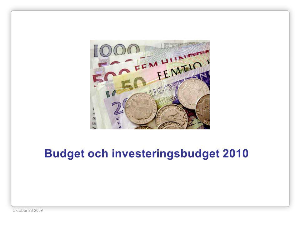 Budget och investeringsbudget 2010 Oktober 28 2009