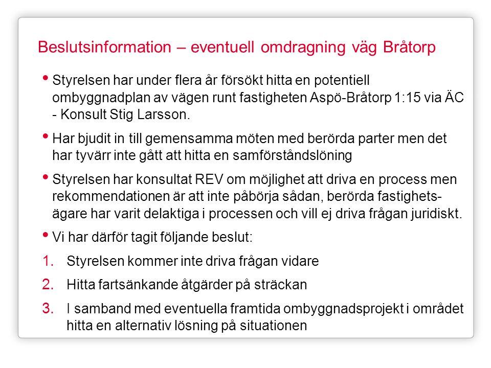 Beslutsinformation – eventuell omdragning väg Bråtorp • Styrelsen har under flera år försökt hitta en potentiell ombyggnadplan av vägen runt fastighet