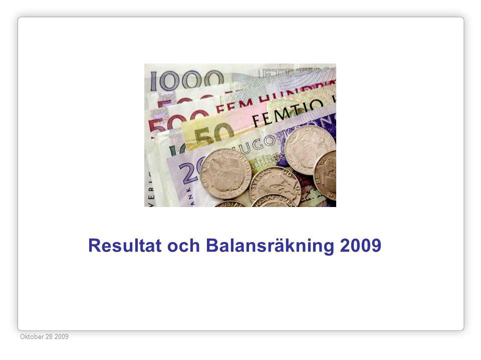 Resultat och Balansräkning 2009 Oktober 28 2009