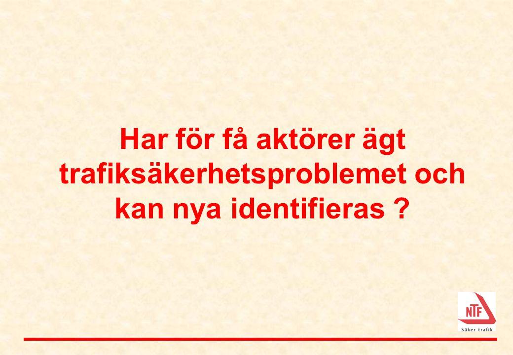 Har för få aktörer ägt trafiksäkerhetsproblemet och kan nya identifieras ?