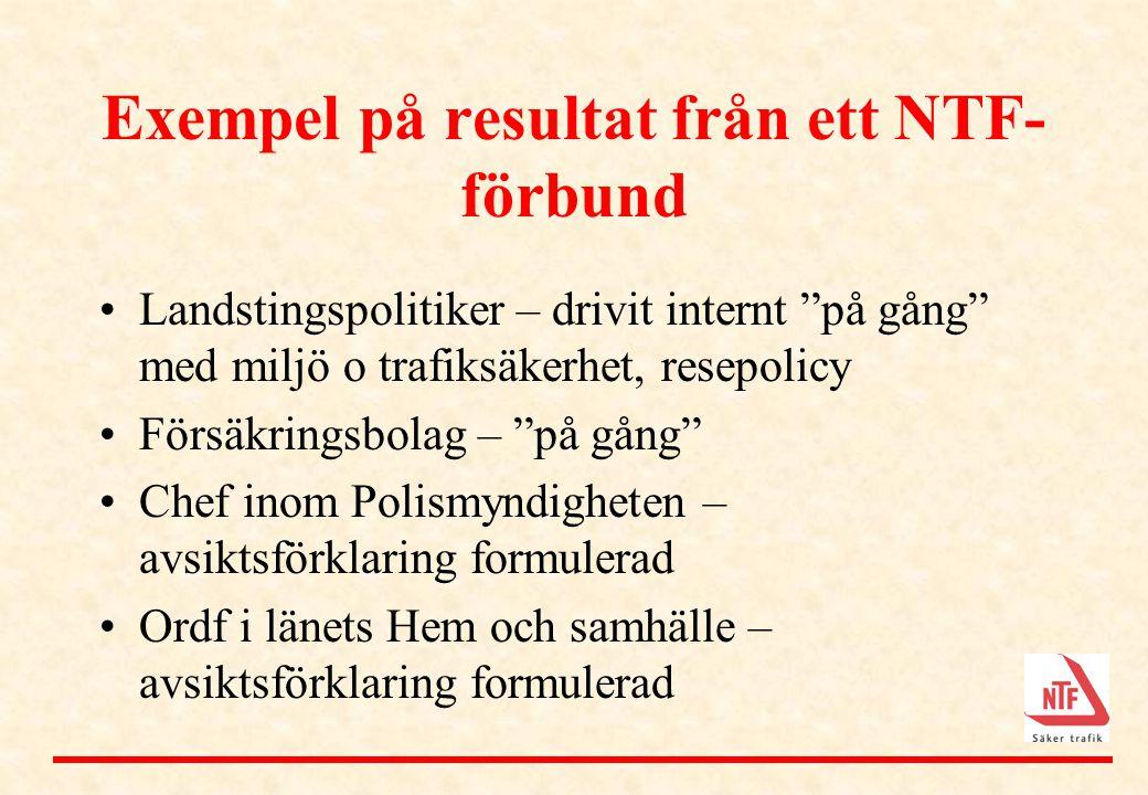 """Exempel på resultat från ett NTF- förbund •Landstingspolitiker – drivit internt """"på gång"""" med miljö o trafiksäkerhet, resepolicy •Försäkringsbolag – """""""
