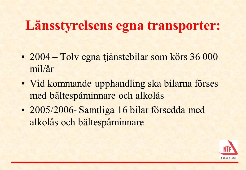 Länsstyrelsens egna transporter: •2004 – Tolv egna tjänstebilar som körs 36 000 mil/år •Vid kommande upphandling ska bilarna förses med bältespåminnar