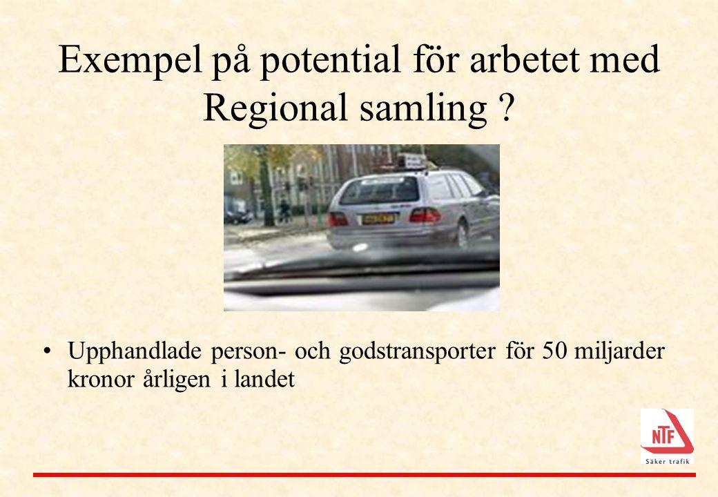 Exempel på potential för arbetet med Regional samling ? •Upphandlade person- och godstransporter för 50 miljarder kronor årligen i landet