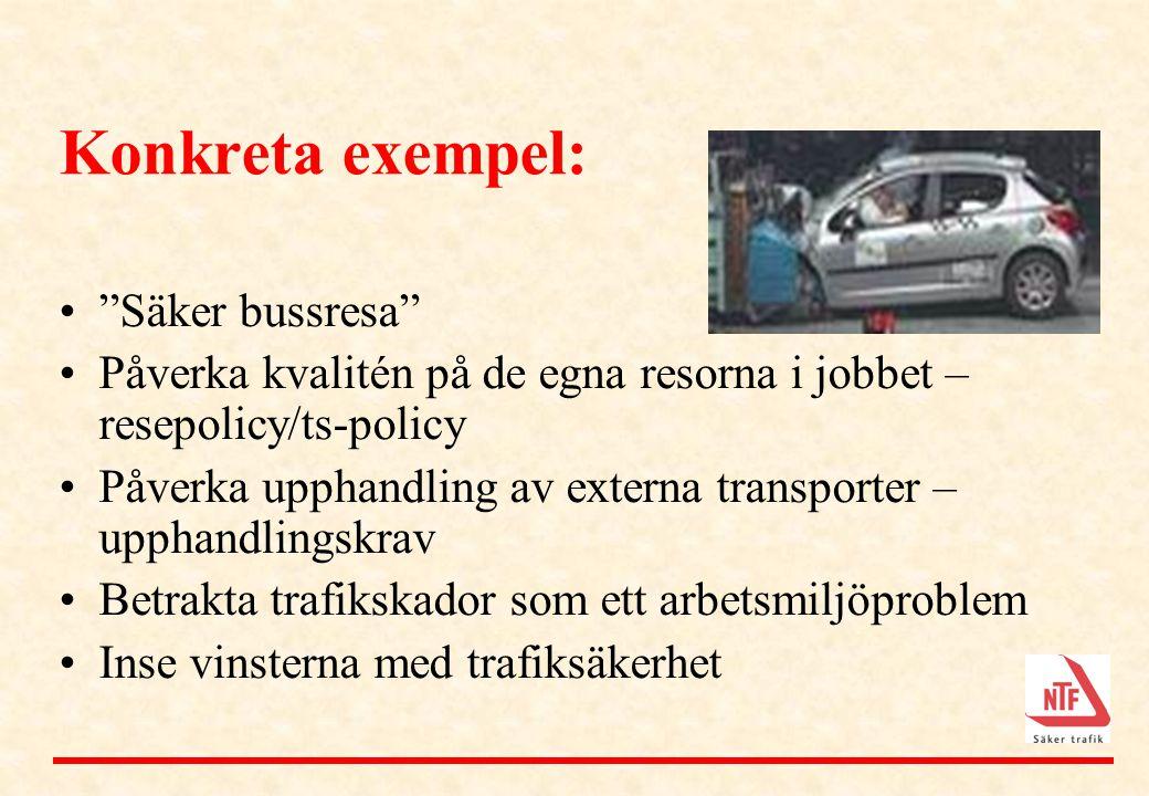 """Konkreta exempel: •""""Säker bussresa"""" •Påverka kvalitén på de egna resorna i jobbet – resepolicy/ts-policy •Påverka upphandling av externa transporter –"""