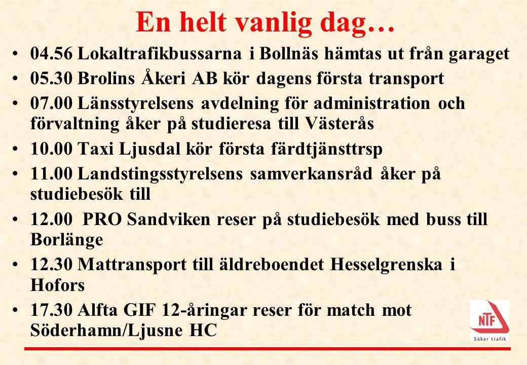 En helt vanlig dag… •04.56 Lokaltrafikbussarna i Bollnäs hämtas ut från garaget •05.30 Brolins Åkeri AB kör dagens första transport •07.00 Länsstyrels