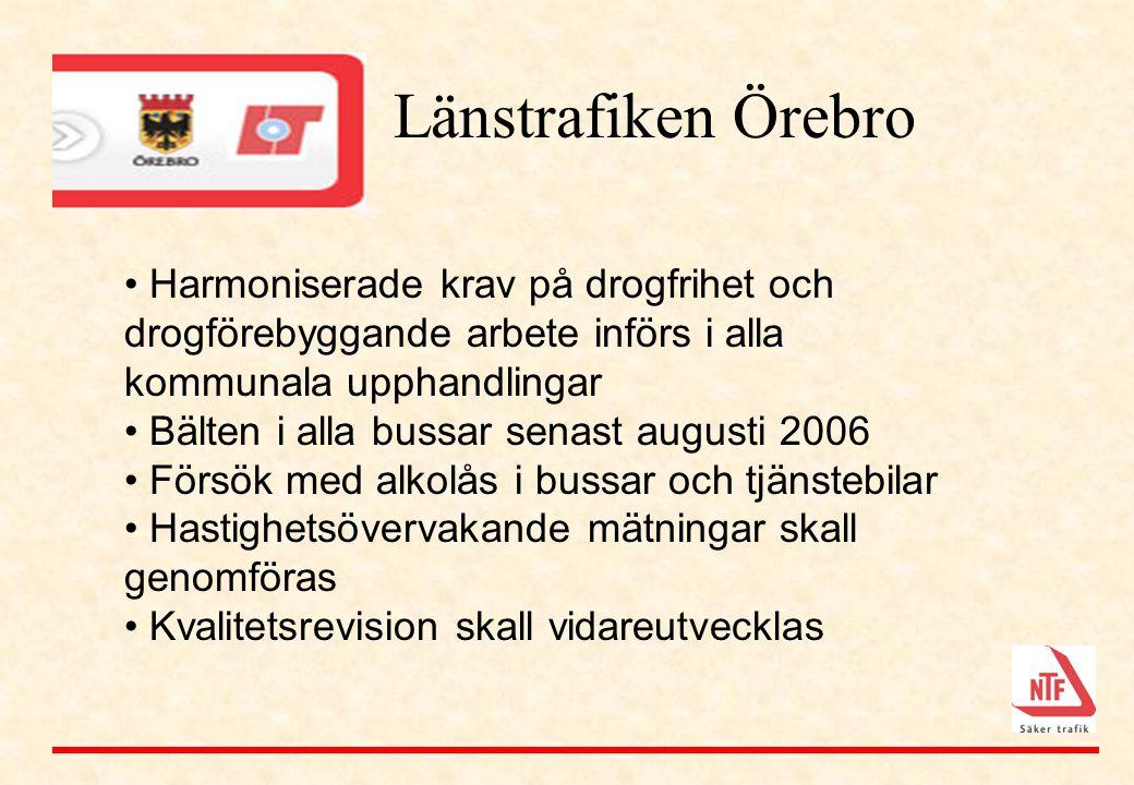 Länstrafiken Örebro • Harmoniserade krav på drogfrihet och drogförebyggande arbete införs i alla kommunala upphandlingar • Bälten i alla bussar senast