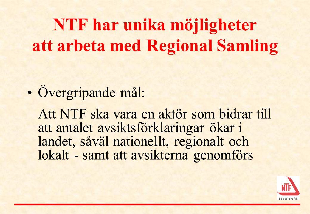 NTF har unika möjligheter att arbeta med Regional Samling •Övergripande mål: Att NTF ska vara en aktör som bidrar till att antalet avsiktsförklaringar