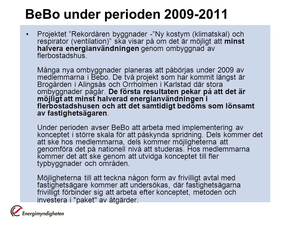 """BeBo under perioden 2009-2011 •Projektet """"Rekordåren byggnader -""""Ny kostym (klimatskal) och respirator (ventilation)"""" ska visar på om det är möjligt a"""