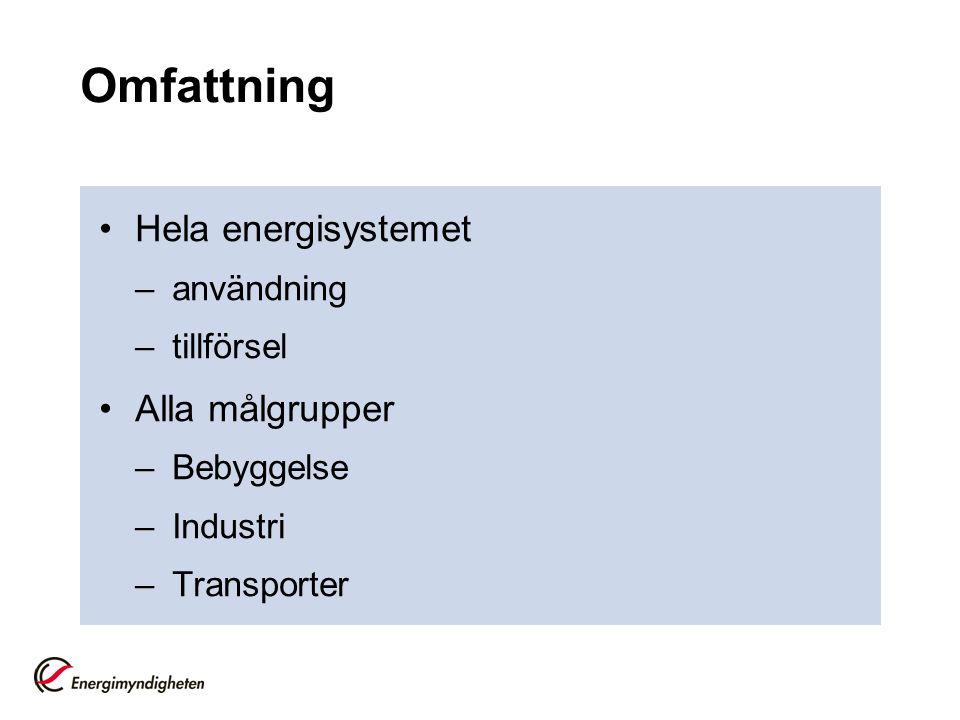 Omfattning •Hela energisystemet –användning –tillförsel •Alla målgrupper –Bebyggelse –Industri –Transporter