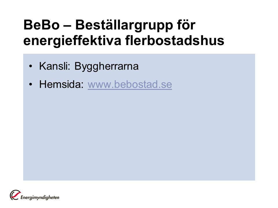 BeBo – Beställargrupp för energieffektiva flerbostadshus •Kansli: Byggherrarna •Hemsida: www.bebostad.sewww.bebostad.se
