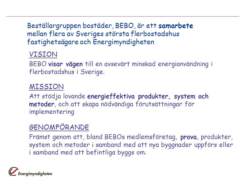 Beställargruppen bostäder, BEBO, är ett samarbete mellan flera av Sveriges största flerbostadshus fastighetsägare och Energimyndigheten VISION BEBO vi
