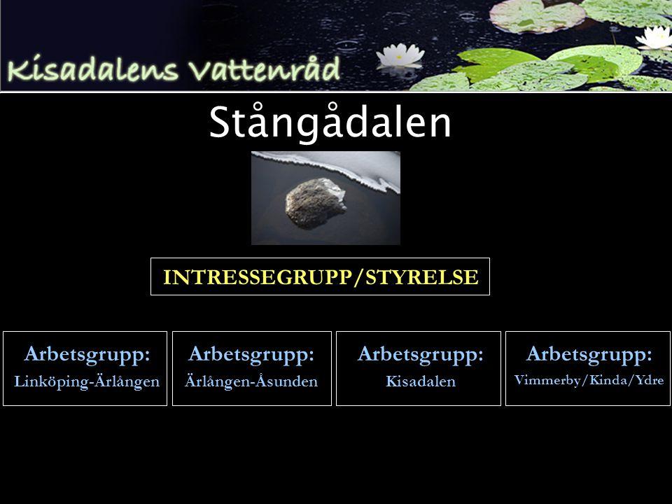 Stångådalen INTRESSEGRUPP/STYRELSE Arbetsgrupp: Linköping-Ärlången Arbetsgrupp: Ärlången-Åsunden Arbetsgrupp: Kisadalen Arbetsgrupp: Vimmerby/Kinda/Ydre