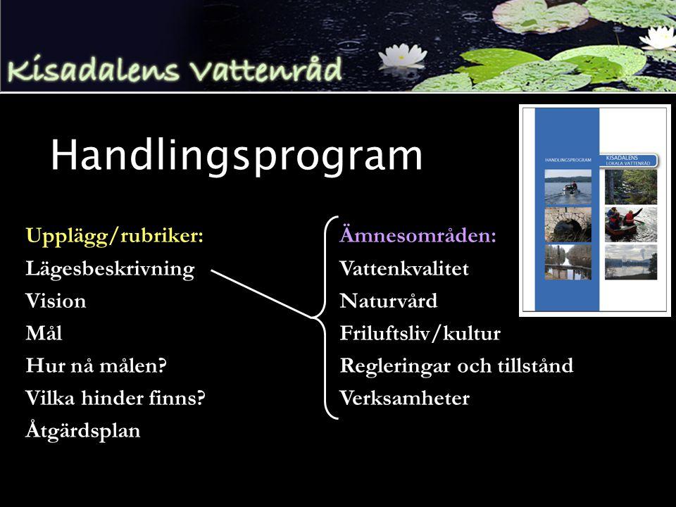Handlingsprogram Upplägg/rubriker: Lägesbeskrivning Vision Mål Hur nå målen.