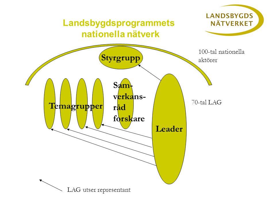 Leader Styrgrupp Landsbygdsprogrammets nationella nätverk Temagrupper 100-tal nationella aktörer 70-tal LAG Sam- verkans- råd forskare LAG utser representant