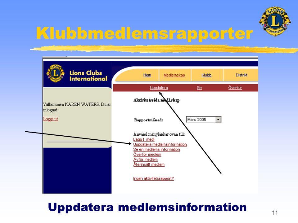11 Klubbmedlemsrapporter Uppdatera medlemsinformation