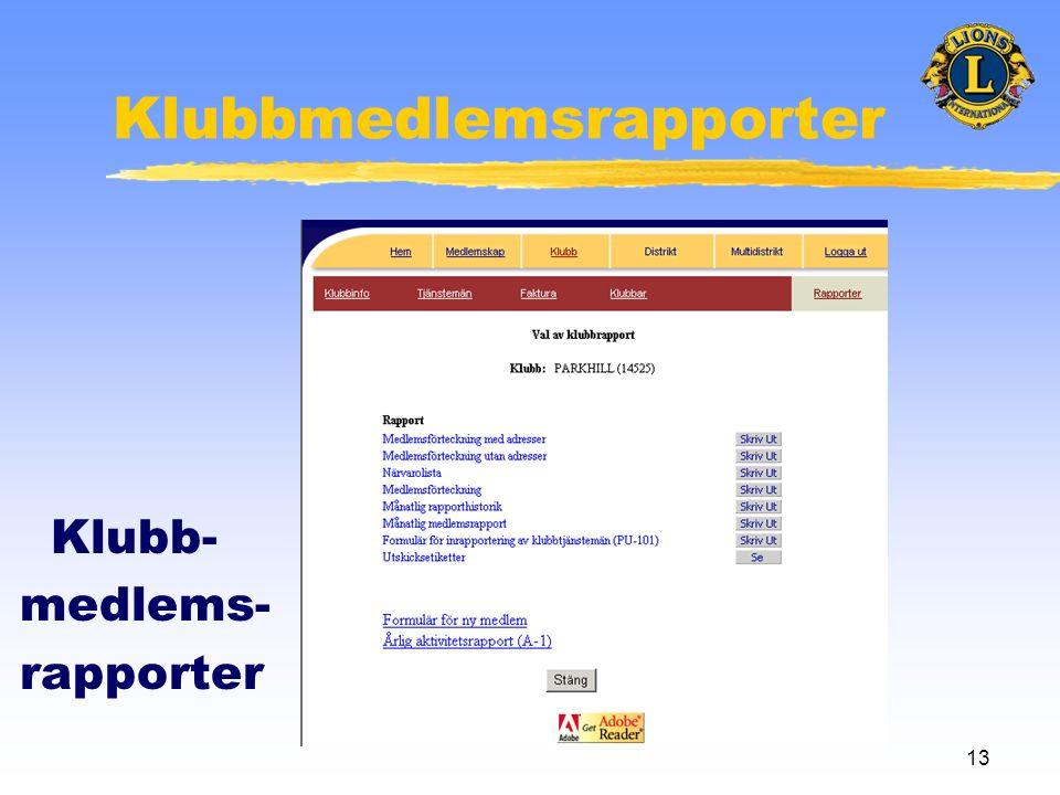 13 Klubbmedlemsrapporter Klubb- medlems- rapporter