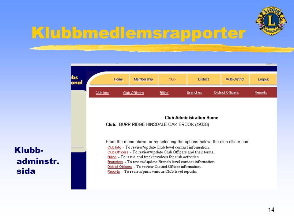 14 Klubbmedlemsrapporter Klubb- adminstr. sida