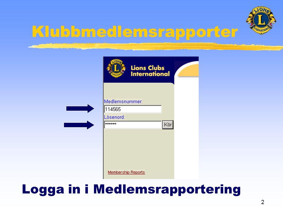 2 Klubbmedlemsrapporter Logga in i Medlemsrapportering