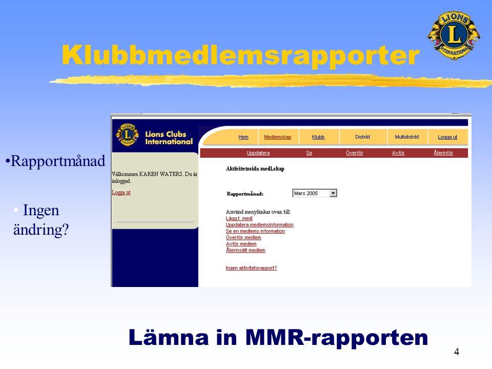 4 Klubbmedlemsrapporter Lämna in MMR-rapporten •Rapportmånad • Ingen ändring