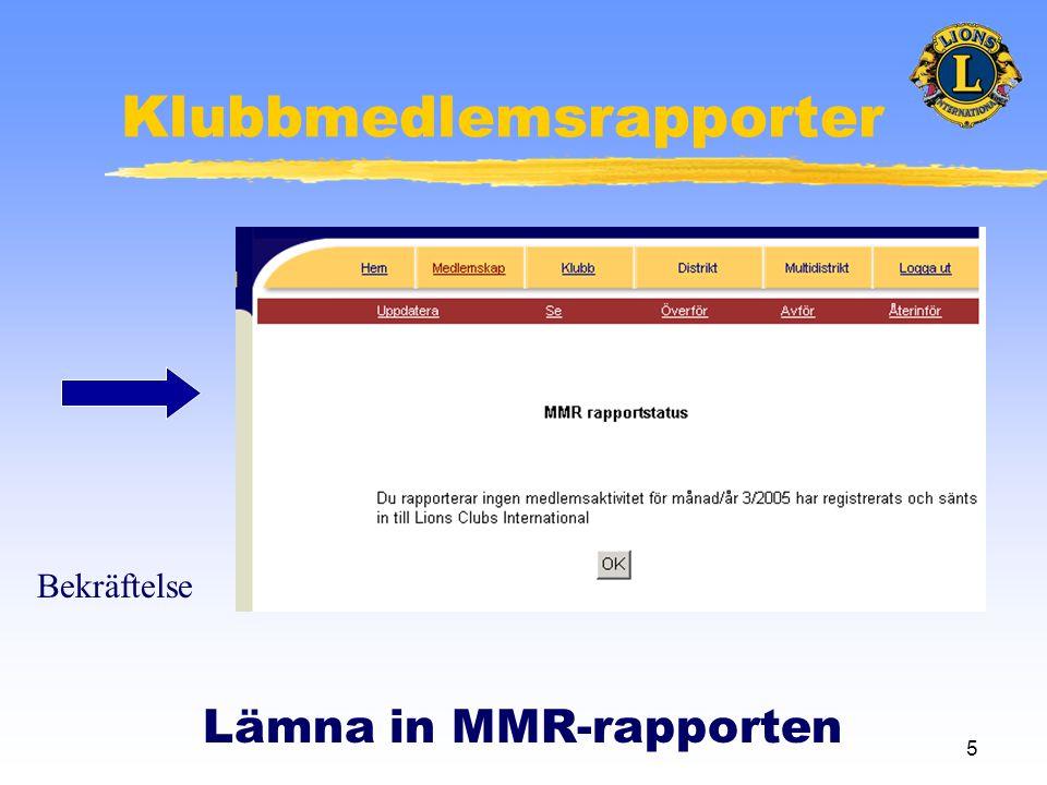 5 Klubbmedlemsrapporter Lämna in MMR-rapporten Bekräftelse