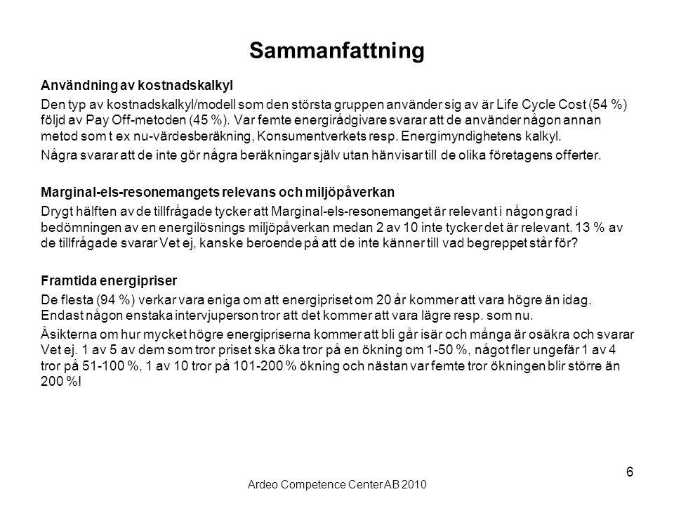 Ardeo Competence Center AB 2010 6 Sammanfattning Användning av kostnadskalkyl Den typ av kostnadskalkyl/modell som den största gruppen använder sig av är Life Cycle Cost (54 %) följd av Pay Off-metoden (45 %).