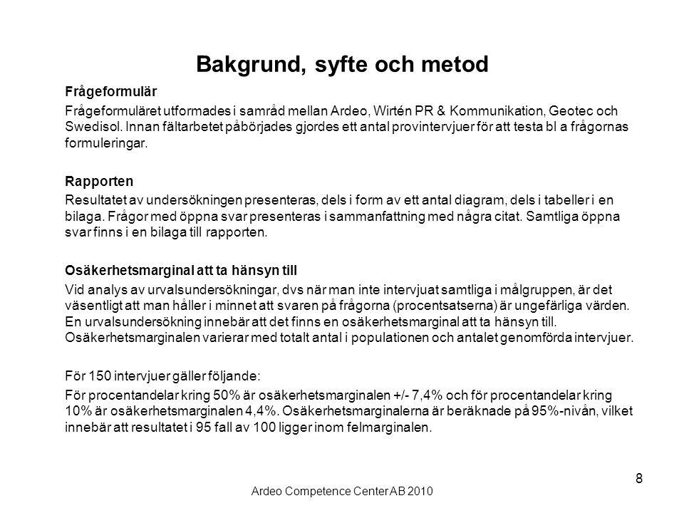 Ardeo Competence Center AB 2010 8 Bakgrund, syfte och metod Frågeformulär Frågeformuläret utformades i samråd mellan Ardeo, Wirtén PR & Kommunikation, Geotec och Swedisol.