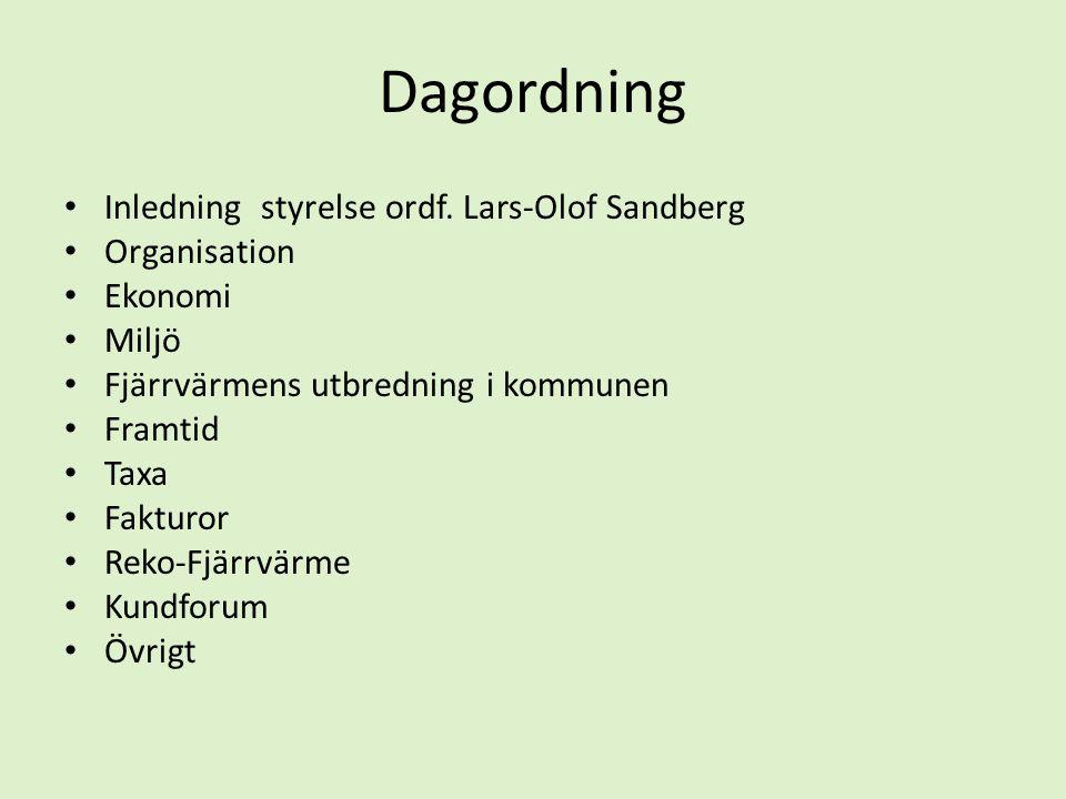 Dagordning • Inledning styrelse ordf. Lars-Olof Sandberg • Organisation • Ekonomi • Miljö • Fjärrvärmens utbredning i kommunen • Framtid • Taxa • Fakt