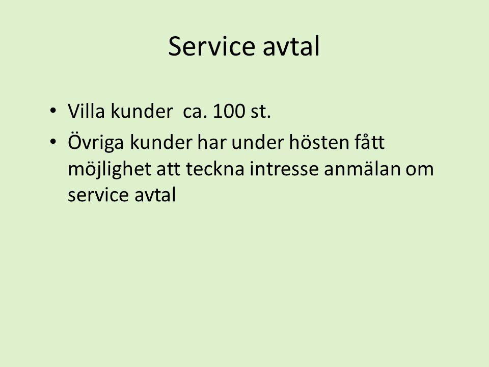 Service avtal • Villa kunder ca. 100 st. • Övriga kunder har under hösten fått möjlighet att teckna intresse anmälan om service avtal