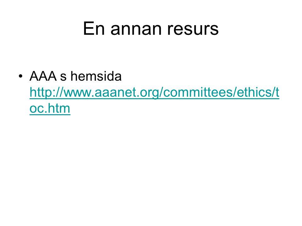 En annan resurs •AAA s hemsida http://www.aaanet.org/committees/ethics/t oc.htm http://www.aaanet.org/committees/ethics/t oc.htm
