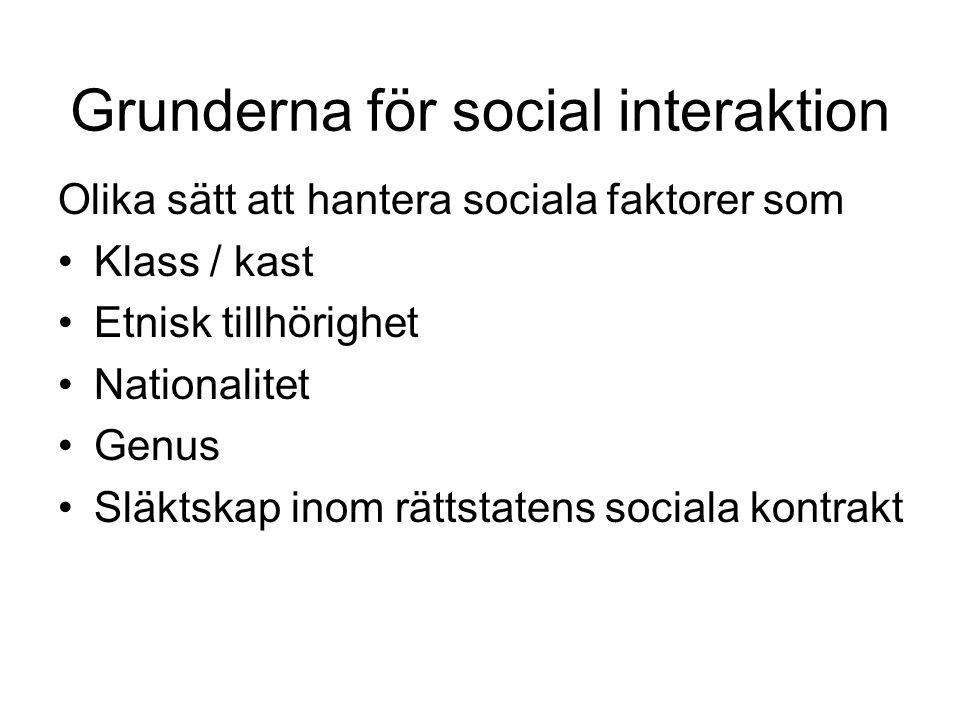 Grunderna för social interaktion Olika sätt att hantera sociala faktorer som •Klass / kast •Etnisk tillhörighet •Nationalitet •Genus •Släktskap inom rättstatens sociala kontrakt