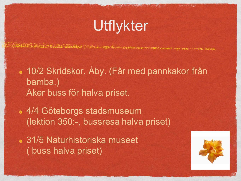 Utflykter 10/2 Skridskor, Åby. (Får med pannkakor från bamba.) Åker buss för halva priset.